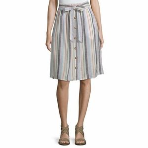 NWT a.n.a  Multi Stripe Button Front Skirt Size 14